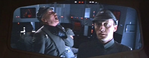 Who is the officer on the left getting force-choked by Darth Vader?