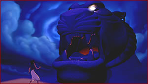 Where does Aladdin find the Genies lamp?