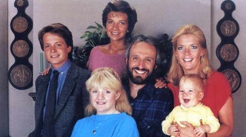 In this photo, what was the name of the youngest member of the Keaton household on the sitcom Family Ties?