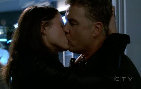 "Sara and Grissom's only onscreen kiss. From ""Goodbye and Good Luck."""