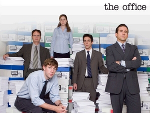 Our favorite office workers: Dwight, Jim, Pam, Ryan, and Michael