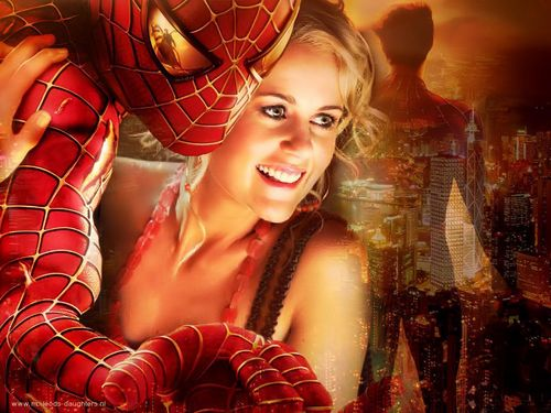 Jodi in the arms of spiderman!