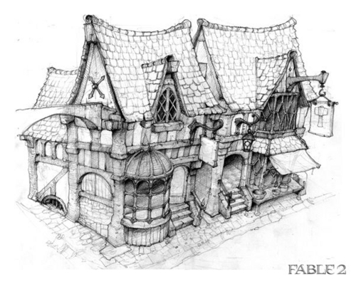 "Fable 2 concept art ""Shop"""