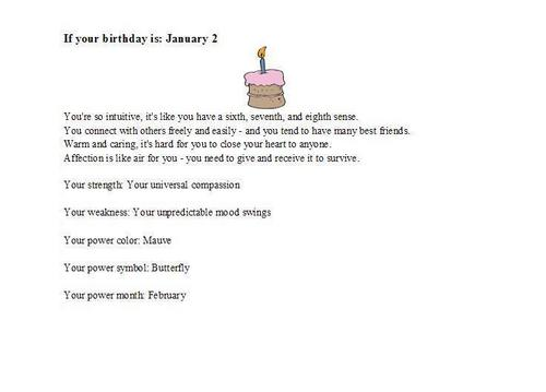 Birthday personality January 2