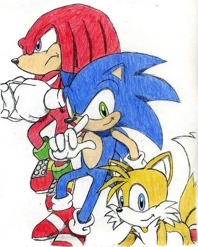 Knuckles, Sonic, and Tails