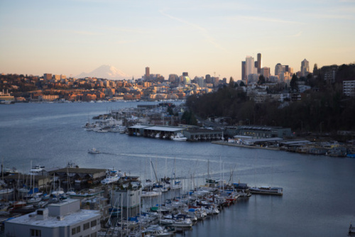 Seattle Cityscape and Mount Rainier, Dusk