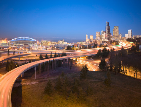Seattle Skyline And Overpass At Dawn