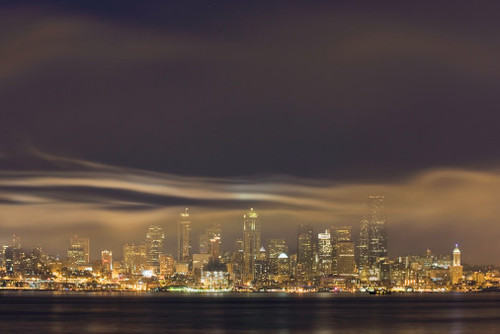 Seattle Skyline With Firework Smoke, Dusk